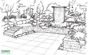 vertical waterfall patio sketch gardens pinterest