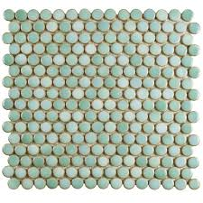 merola tile hudson penny round mint green  in x  in x   with merola tile hudson penny round mint green  in x  in x  mm  porcelain mosaic tilefkompr  the home depot from homedepotcom