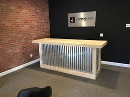Metal Shop Desk 8 Foot Corrugated Metal Bar Sales Counter Reception Desk By