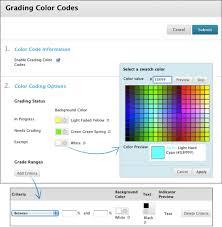 color codes color code the grade data blackboard help