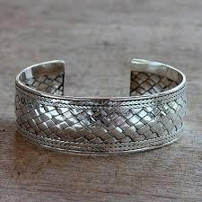 silver weave bracelet images Hand woven sterling silver cuff bracelet pandan weaving novica jpg