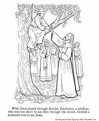 Jesus Teaches Coloring Pages Zacchaeus Climbs A Tree To See Zacchaeus Coloring Page