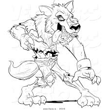 vector of a werewolf standing aggressively black and white art