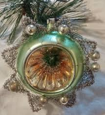 antique vintage mercury glass bead german wire indent star