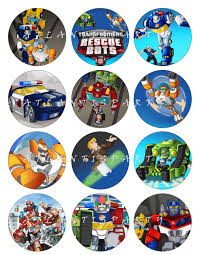 TRANSFORMERS RESCUE BOTS Cupcake Toppers Favor by ATLANTISPARTY
