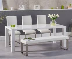 white table with bench 200cm white high gloss dining table with malaga chairs and atlanta