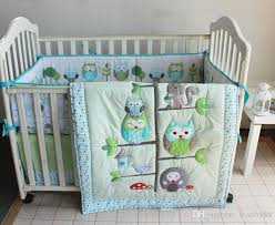 Crib Bedding Set With Bumper Cotton Embroidery Appliqued Owl Tree Trunk Homes Baby Crib Bedding