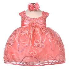 nancy august merry ribbon sequins infant dress in coral