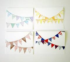 watercolor notecards bunting variety note cards pastel pennants notecards set set