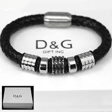 bracelet black images Dg men 39 s stainless steel black braided leather magnetic 8 5 jpg