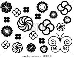 simple flowers ornaments black and white image cg2p265367c