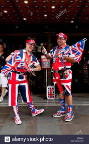 Uk Flag Dress Union Jack Flag Man Standing Outside A Fancy Dress Shop London