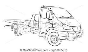 sketch tow truck sketch of a big city tow truck vector clip art
