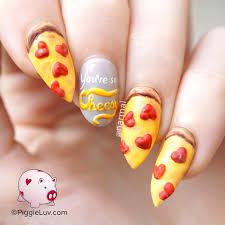 piggieluv pizza nail art for valentine u0027s day