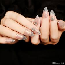 high grade shining fake nails patch finished nail art pointed full
