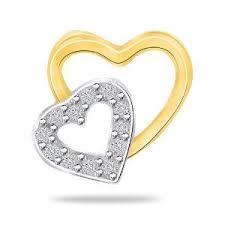 diamond studded dual heart diamond studded pendant in gold by sparkles p7822