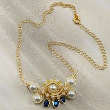 glass pearl necklace images White eye glass pearl necklace kazel leather jpg