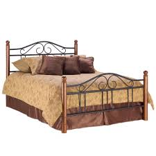 bedroom gorgeous brown wooden poster mixed wrought iron bed and