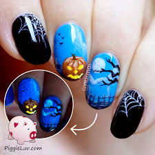 piggieluv happy halloween nail art hpb linkup