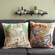 embroidered central park pillow new york city pillow decor