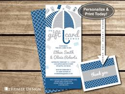 gift card bridal shower gift card shower invitation in blue and gray navy plus bonus