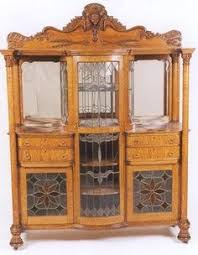 petite antique english carved oak china display cabinet jacobean