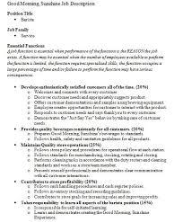 Barista Resume Sample by Barista Job Description At Starbucks Samplebusinessresumecom