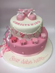 christening cake 2 tier with pink booties cinnamon square