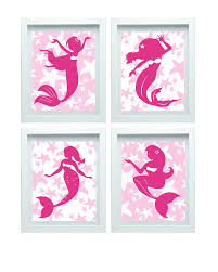 pink mermaid decor bathroom art little mermaid print