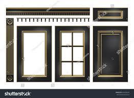 black gold door drawer column cornice stock illustration 634203659