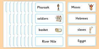 moses word cards moses hebrews slaves pharaoh