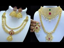 gold stone necklace images One gram gold stone haram matching necklace jpg