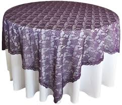 eggplant colored table linens eggplant lace table overlays topper wedding