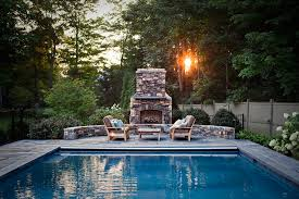 Outdoor Fireplace Patio Retractable Pool Cover Pool Traditional With Blue Pool Outdoor