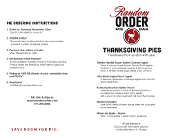 thanksgiving pie orders portland oregon pie random order