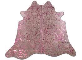 Calf Skin Rug Metallic Pink Cowhide Rug