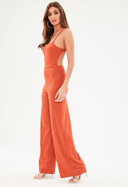 orange jumpsuit formal jumpsuit evening jumpsuits missguided