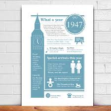 personalised 1947 print for 70th birthday by afewhometruths