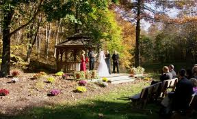brown county wedding venues gazebo wedding with brown county state park in the background