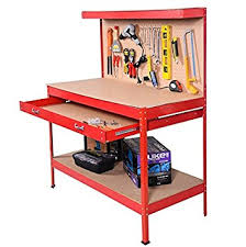 Tool Bench For Garage Red Working Bench With Drawer And Peg Board Work Bench Tool