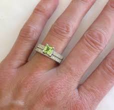 peridot engagement ring princess cut peridot engagement ring with matching band in 14k