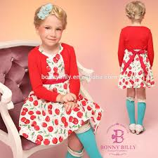 fashion kids winter dress apple printing red coat girls winter