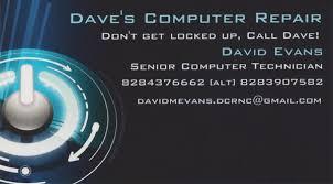 It Technician Business Card Dave U0027s Computer Repair It Services U0026 Computer Repair 5063 Old