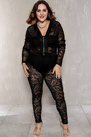 Trendy Plus Size Jumpsuits Black Plunging Neckline Long Sleeve Sheer Plus Size Dressy