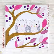 tableaux chambre bébé tableau enfant bébé thème forêt hiboux chouettes sur branche