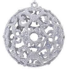 6 pcs silver glitter baubles balls tree decoration