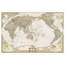 Personalized World Map by World Executive Pacific Centered Wall Map Enlarged And Laminated