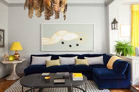Navy Blue Sofas by Navy Blue Sofa Living Room Transitional With Artwork Bay Window
