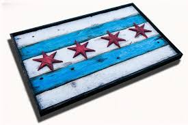 Chicaho Flag Handmade Distressed Wooden Chicago Flag Vintage Art Distressed