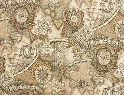 Navigation Map Ancient Mariner Fabric Swatch With Old World Navigation Map Images